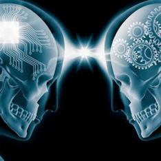 Two skulls facing each other, one with circuitry in the brain area, the other with cogs, a light passing between them
