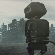 A robot looks out over a post-apocalyptic landscape