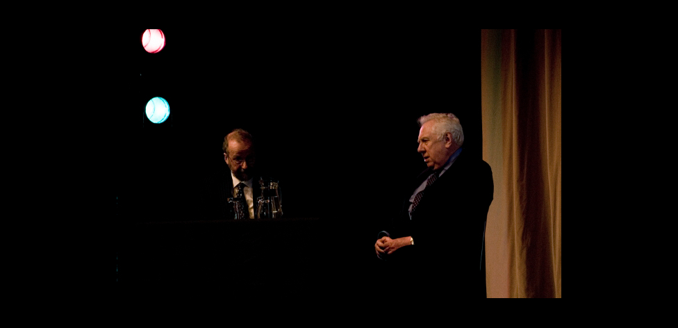 Michael Thorne and Roy Hattersley on stage (2)