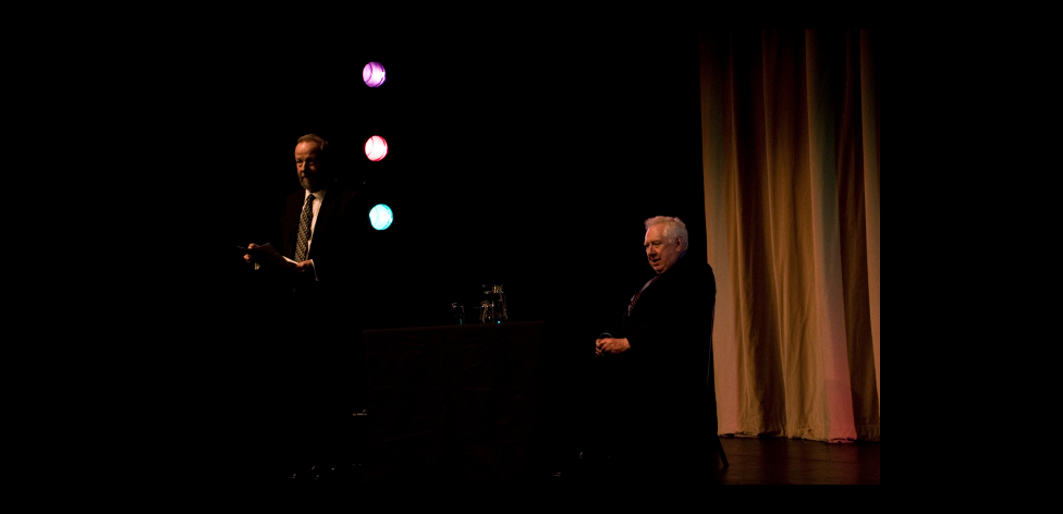 Michael Thorne and Roy Hattersley on stage