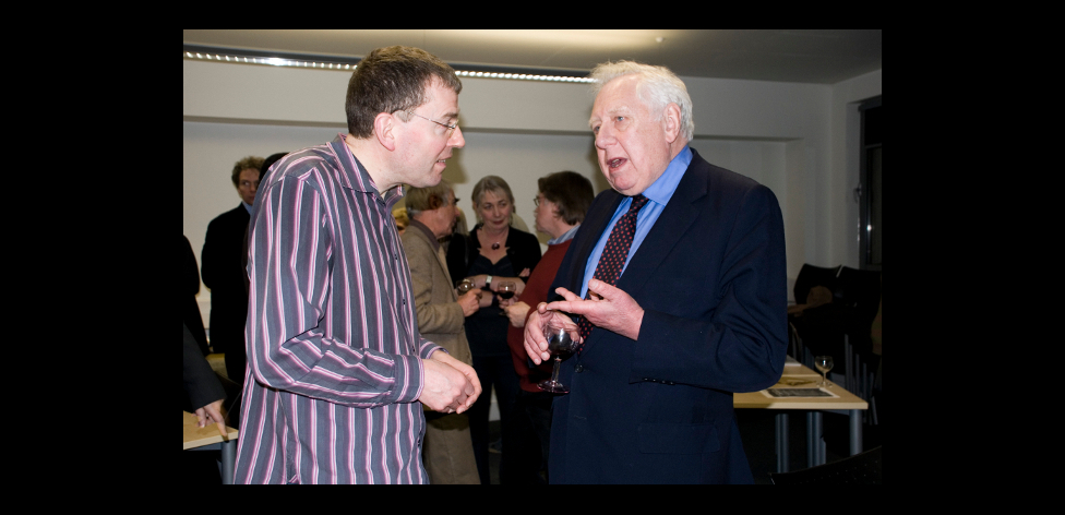 Roy Hattersley talking to guest