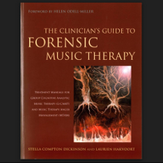 A red book titled 'The Clinician's Guide to Forensic Music Therapy' with an image of synapses firing