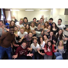 Anglia Ruskin students with Broadway performer Colin Cunliffe (front row centre in white t-shirt)