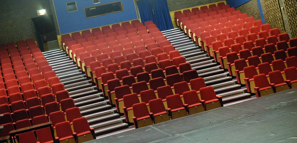a view of the Mumford Theatre seating, taken from the stage