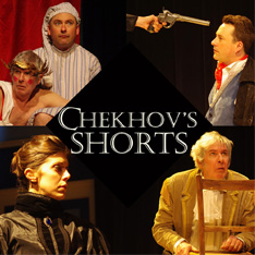 An amalgamation of images with the text Chekhov's Shorts in the centre