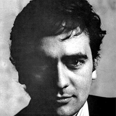 a black and white portrait of Dudley Moore