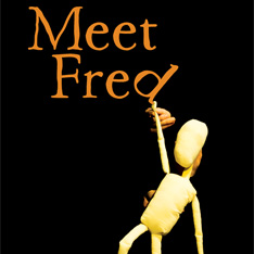 the title Meet Fred set against a black background.  Fred the puppet is hanging by one hand off the letter d, causing it to tilt.