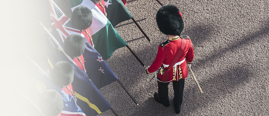 A row of Queen's Guards holding different flags, with one guard out in front