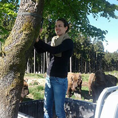 Animal Behaviour graduate Kaja in Germany with three bison in the background