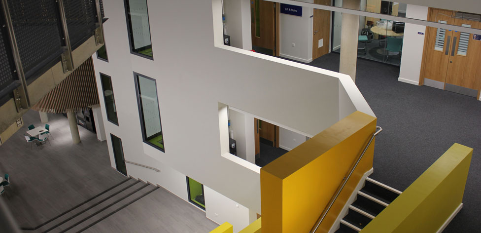 Inside our Science Centre there's an atrium area and seven floors of labs and teaching space