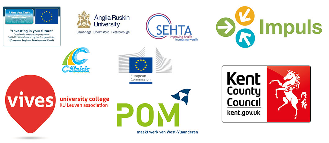 Logos for European Development Fund, Anglia Ruskin, SEHTA, Impuls, Calaisis, European Commission, Kent County Council, POM, Vives University College