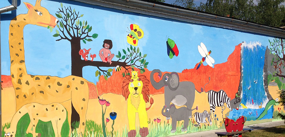 A mural with animals