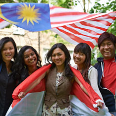 Students with Malaysian flag