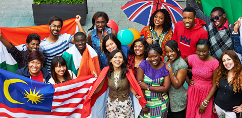 Smiling international students