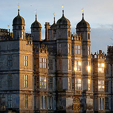 Sun reflecting off windows at Burghley House