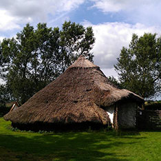 Replica Bronze Age roundhouse at Flag Fen Archaeological Park