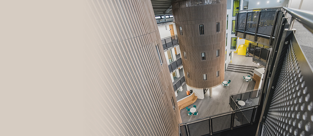 Interior view of the Science Centre in Cambridge - looking from top-floor balcony down into the atrium