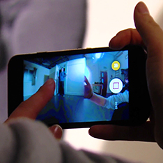 A scene from a film being shot on a mobile phone