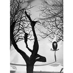 Black and white tree design