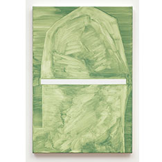An abstract work in shades of green with white, by Robert Holyhead
