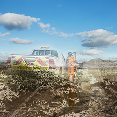 Detail of Tom Alfuth's colour photo of a highways truck on the A14 construction site