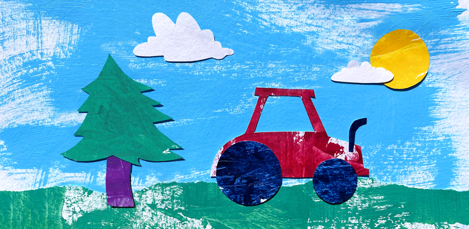 Illustration of tractor and tree
