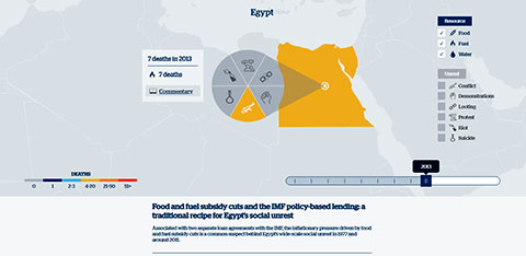 Online map with the country of Egypt highlighted and words at the bottom of the screen - linking out to commentary piece