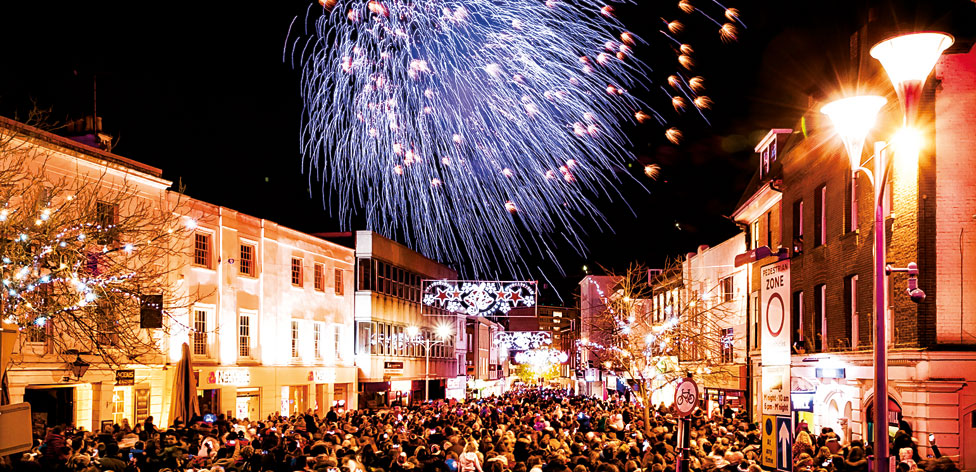 Chelmsford loves to party... fireworks over the High Street
