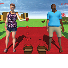 Still from the interactive game ReHabgame - avatars of two people standing and performing simple movements