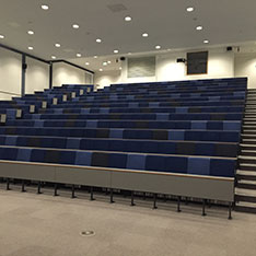 Lecture theatre will rows of straight desks