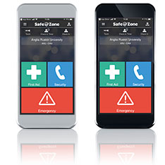 Two mobile phone screens showing the SafeZone app
