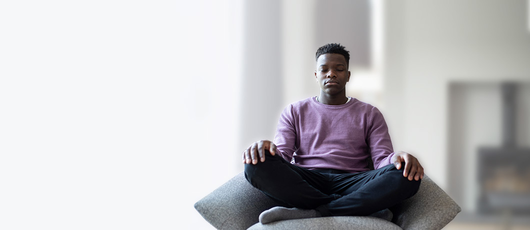 Photo of a student meditating