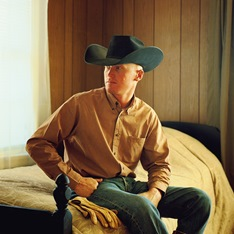 A photograph of a cowboy in a so'wester by Jane Hilton