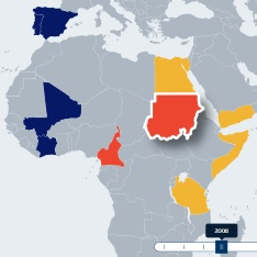 The 'Chaos Map' which shows deaths in areas of conflict due to food, water and fuel insecurity