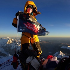 Dr Melanie Windridge at the summit of Everest