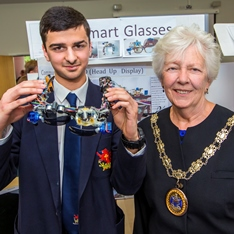 Westcliff High School's Eisa Anwar and Patricia Hughes, Mayor of Chelmsford