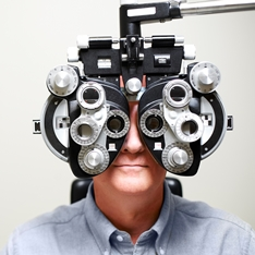 Man undergoing an eye test