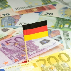 German flag and Euro notes