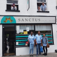 Anglia Ruskin Student volunteers stood outside Sanctus.