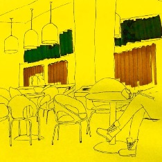 Sketch showing cafeteria furniture on a bright yellow backdrop