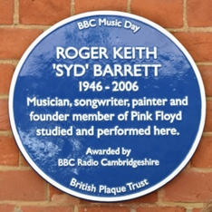 BBC Music Day Blue plaque stating: Roger Keith 'Syd' Barrett, 1946-2006
