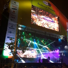 A sponsor-laden main stage on the Boulevard Olimpico, Rio