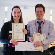 Cintia Papp and Krisztian Papp holding their certificates