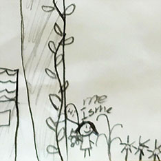 Detail of a child's drawing showing a character standing beside a tree and flowers