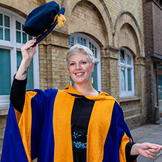 Novelist Sarah Perry in graduation robes
