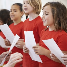 Children singing in class