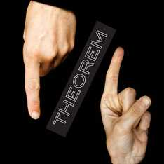 THEOREM exhibition sign placed between two pointing hands in front of a black background