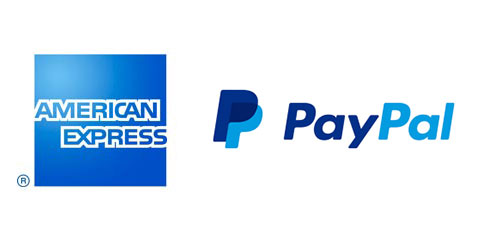 American Express and PayPal logos