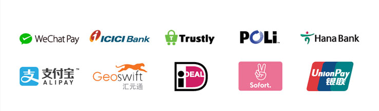 Ten logos: WeChatPay, ICICI Bank, Trustly, POLi, HanaBank, Alipay, Geoswift, iDEAL, Sofort, UnionPay