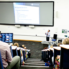 Keynote speaker at conference 2015 in full lecture theatre